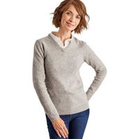 Woolovers  Lambswool V Neck Jumper  womens Sweater in Grey