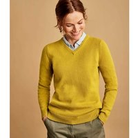 Woolovers  Lambswool V Neck Jumper  womens Sweater in Yellow