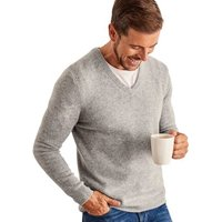 Woolovers  Lambswool V Neck Knitted Sweater  mens Sweater in Grey