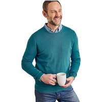Woolovers  Combed Cotton Crew Neck Jumper  men's Sweater in Blue