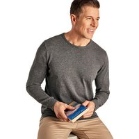 Woolovers  Combed Cotton Crew Neck Jumper  men's Sweater in Grey