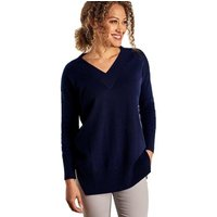Woolovers  Cashmere Merino Deep V Neck Tunic  womens Tunic dress in Blue