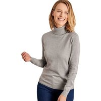 Woolovers  Silk and Cotton Polo Neck Jumper  women's Sweater in Grey