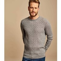 Woolovers  Cashmere and Merino Cable Crew Neck Jumper  men's Sweater in Grey
