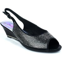 Strictly  Womens Slingback Wedge Diamante Evening  womens Sandals in Black
