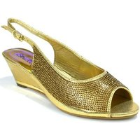 Strictly  Womens Slingback Wedge Diamante Evening  womens Sandals in Gold