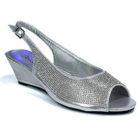 Strictly  Womens Slingback Wedge Diamante Evening  womens Sandals in Silver