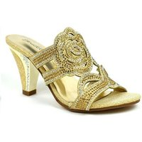 Stictly  Rose for Your Feet Elegant Evening Heel  womens Court Shoes in Gold