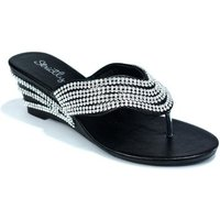 Strictly  Womens Wedge Heel Toe Post Evening Sandal  womens Sandals in Black