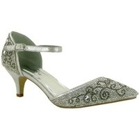 Strictly  Womens Ankle Strap Pointed Evening Heel  womens Court Shoes in Silver