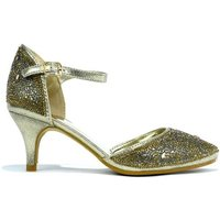 Strictly  Womens Ankle Strap Pointed Evening Heel  womens Court Shoes in Gold