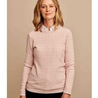 Woolovers  Cashmere Merino Cable Crew Neck Jumper  women's Sweater in Pink