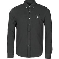 Polo Ralph Lauren  CHEMISE AJUSTEE COL BOUTONNE EN POLO FEATHERWEIGHT LOGO PONY PLA  men's Long sleeved Shirt in Black