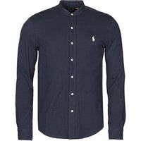 Polo Ralph Lauren  CHEMISE AJUSTEE COL MAO EN POLO FEATHERWEIGHT LOGO PONY PLAYER  men's Long sleeved Shirt in Blue
