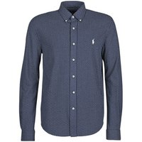 Polo Ralph Lauren  CHEMISE AJUSTEE IMPRIMEE COL BOUTONNE EN POLO FEATHERWEIGHT LOGO  men's Long sleeved Shirt in Blue