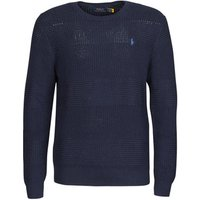 Polo Ralph Lauren  PULL COL ROND EN COTON TEXTURE LOGO PONY PLAYER  men's Sweater in Blue