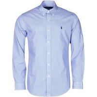 Polo Ralph Lauren  CHEMISE AJUSTEE EN POPLINE DE COTON COL BOUTONNE  LOGO PONY PLAY  men's Long sleeved Shirt in Blue