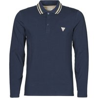 Guess  OLIVER LS POLO  men's Polo shirt in Blue
