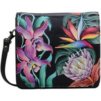 Anuschka  669 Island Escape Blk-RFID Block Handpainted Leather  womens Messenger bag in Multicolour
