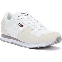 Tommy Hilfiger  Tommy Jeans Suede Mesh Panel Womens White Trainers  women's Shoes (Trainers) in White