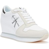 Calvin Klein Jeans  Nylon Leather Wedge Womens White Trainers  women's Shoes (Trainers) in White