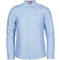 Tommy Jeans  TJM LINEN BLEND SHIRT  men's Long sleeved Shirt in Blue