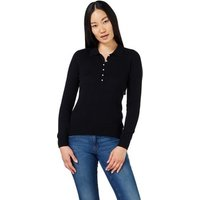 Woolovers  Cashmere and Merino Knitted Polo Shirt Black  women's Polo shirt in Black
