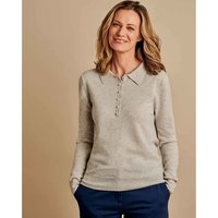 Woolovers  Cashmere and Merino Knitted Polo Shirt Marble  women's Polo shirt in Grey