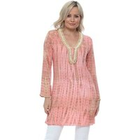 Hot Lava  Bamboo Moonstone Long Tunic In Coral  womens Blouse in Orange