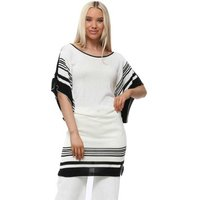 Odemai  Black  amp; Ivory Stripe Knitted Batwing Tunic Top  womens Blouse in White