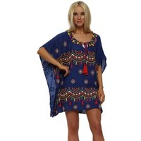 Nj Couture  Blue Embellished Bead  amp; Tassel Cotton Kaftan Top  womens Blouse in Blue