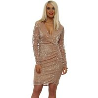 Allyson  Gold Sequinned Pencil Dress  womens Dress in Gold