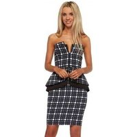 Finders Keepers  Middle Of Nowhere Navy Tartan Peplum Pencil Dress  womens Dress in Blue