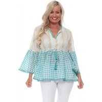 Barok  Turquoise Gingham Swing Top  womens Blouse in Blue