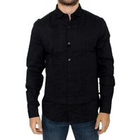 Costume National  Black cotton  mens Long sleeved Shirt in multicolour