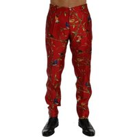 D G  Red Silk Bird  mens Trousers in multicolour