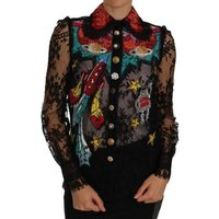 D G  Black Lace Cry  womens Blouse in multicolour