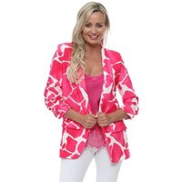 Sebo Paris  Hot Pink Giraffe Print Ruched Sleeve Fitted Blazer  womens Jacket in Pink