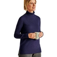 Woolovers  Luxurious Cashmere Boxy Polo Neck Jumper Navy  women's Sweater in Blue