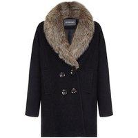 Anastasia  - Fur Collar Womens Winter Coat  womens Coat in Black