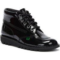 Kickers  Kick Hi Womens Black Patent Boots  women's Mid Boots in Black