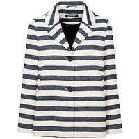 Anastasia  - Stripe Womens Summer Box Jacket  womens Jacket in Blue
