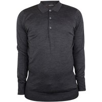 John Smedley  Cotswold Longsleeved Polo Shirt  men's Polo shirt in Grey