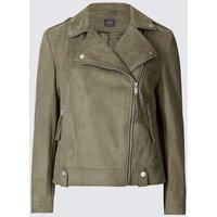 Ex Marks   Spencer  Womens Khaki Faux Suede Biker Jacket  womens Jacket in Green