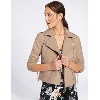 Ex Marks   Spencer  Womens Beige Faux Suede Biker Jacket  womens Jacket in Beige