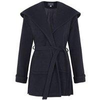 De La Creme  Winter Wool Cashmere Wrap Hooded Coat  womens Parka in Blue