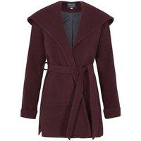 De La Creme  Winter Wool Cashmere Wrap Hooded Coat  womens Parka in Red