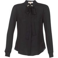 MICHAEL Michael Kors  GROMMET NK TIE BLSE  womens Blouse in Black