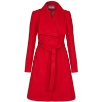Anastasia Womens Red Large Collar Belted Wrap Winter Coat Trench Coat In Red