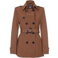 De La Creme  Spring Tie Belted Short Trench Coat  women's Coat in Brown